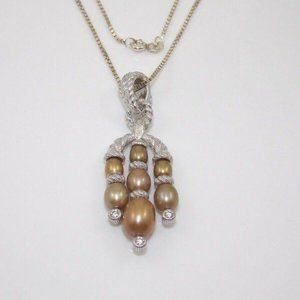 Ripka Sterling CZ Brown Pearl Necklace